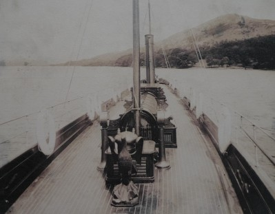 On the deck of Col. Ridehalgh's luxury steam yacht Britannia